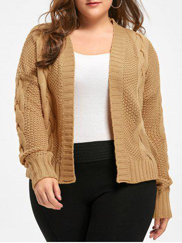 Sale Plus Size Front Open Chunky Cable Knit Cardigan