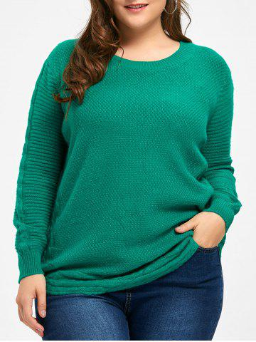 Fashion Round Neck Cable Knit Plus Size Tunic Sweater - ONE SIZE GREEN Mobile