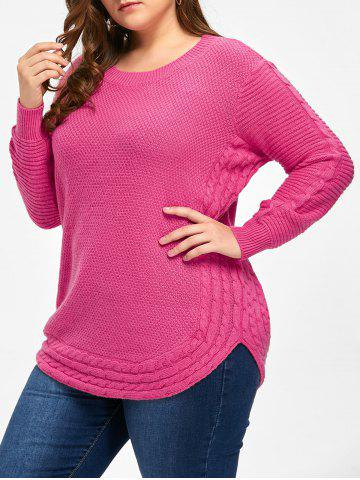 Online Round Neck Cable Knit Plus Size Tunic Sweater - ONE SIZE SANGRIA Mobile