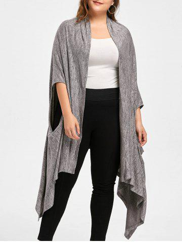 Best Plus Size Marled Multi-way Wear Cardigan - XL DUSTY GREY Mobile