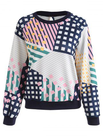 Affordable Geometric Striped Printed Plus Size Sweatshirt