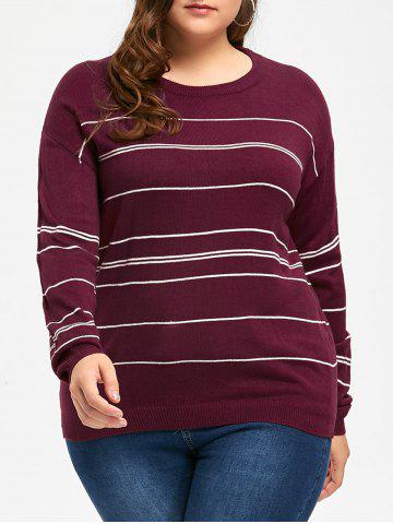 Sale Plus Size Striped Sweater with Split