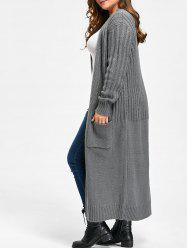 Plus Size Ribbed Two Pockets Long Collarless Cardigan - Gray - One Size