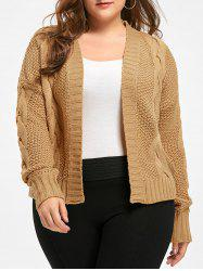 Plus Size Front Open Chunky Cable Knit Cardigan -