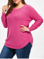 Round Neck Cable Knit Plus Size Tunic Sweater -