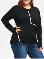 Plus Size  Contrast Slit Crew Neck Sweater -