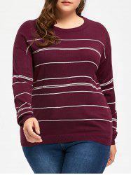 Plus Size Striped Sweater with Split -