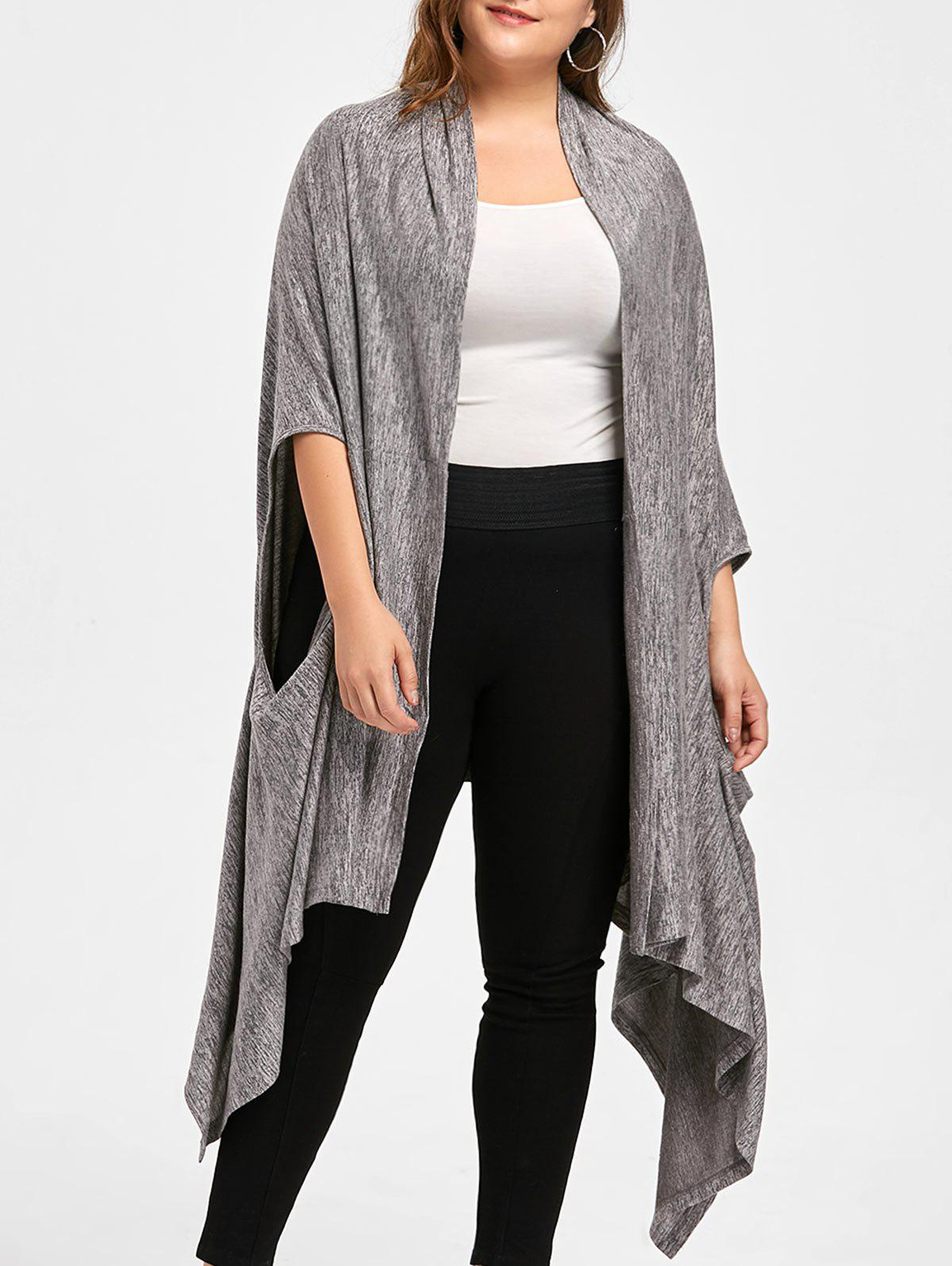 Plus Size Marled Multi-way Wear CardiganWOMEN<br><br>Size: 5XL; Color: DUSTY GREY; Type: Cardigans; Material: Rayon; Sleeve Length: Full; Collar: Collarless; Style: Novelty; Season: Fall,Spring; Pattern Type: Solid; Weight: 0.4700kg; Package Contents: 1 x Cardigan;