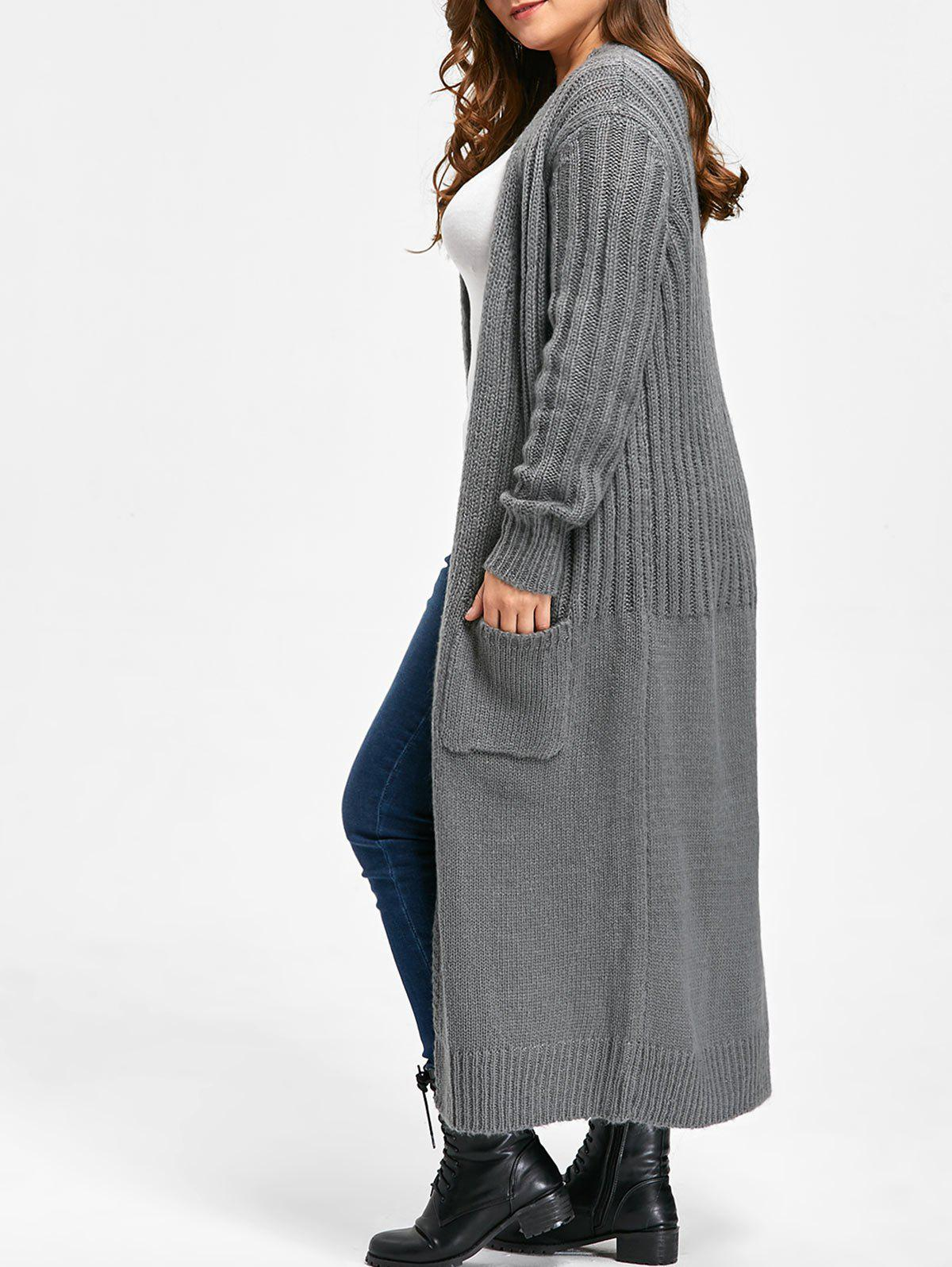 Plus Size Two Pockets Long Ribbed Collarless Cardigan 229909402