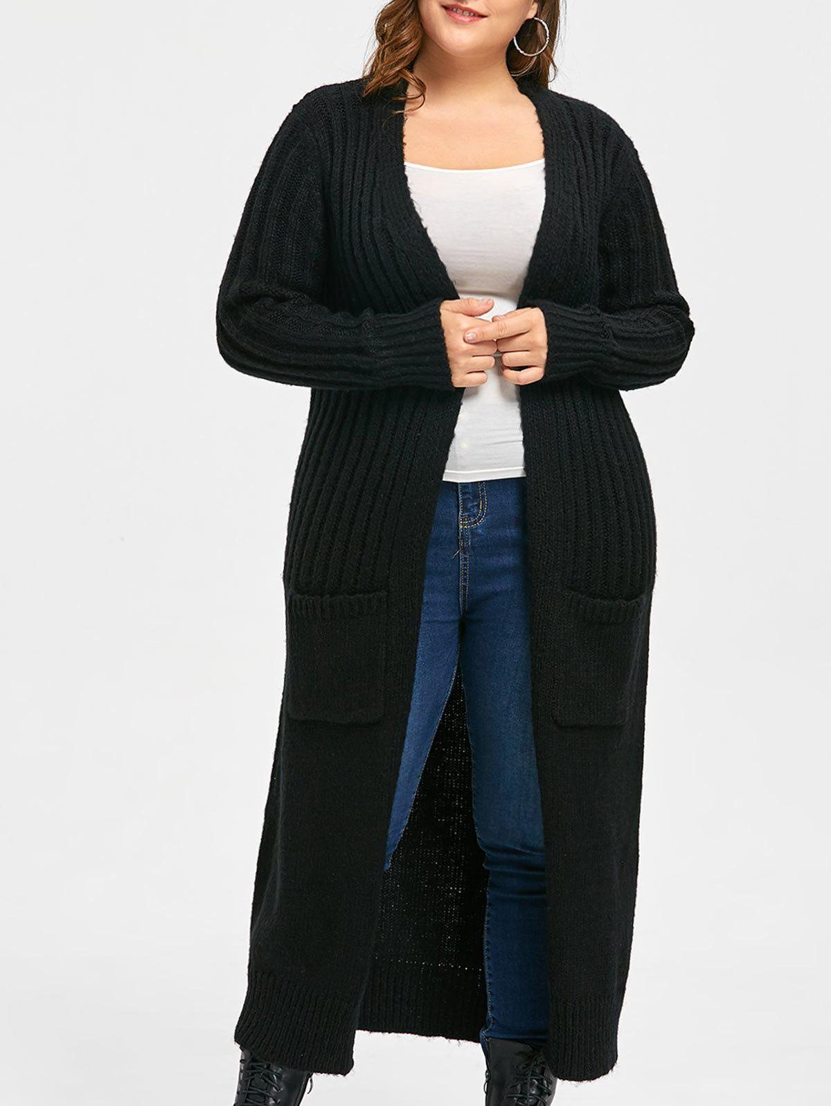 Plus Size Two Pockets Long Ribbed Collarless Cardigan 229909401