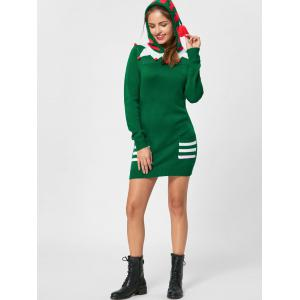Christmas Patch Pockets Hooded Jumper Dress -