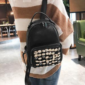 Side Pouch Faux Leather Studded Backpack - BLACK