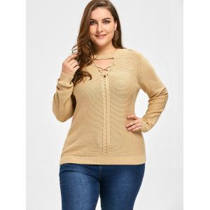 Light Camel 5xl Plus Size Cable Knit Criss Cross Sweater | RoseGal.com