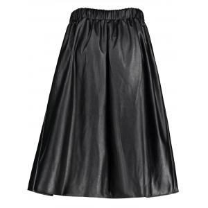 Jupe taille taille grand taille taille cuir - Noir 2XL