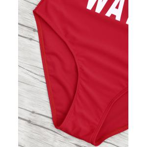 One Piece Letter Print Backless Swimsuit - RED M