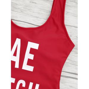 One Piece Letter Print Backless Swimsuit - RED L