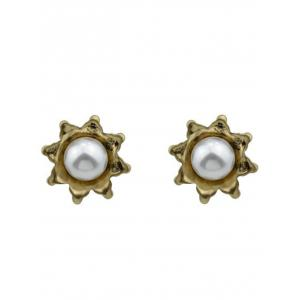 Rhinestones Teardrop Flory Pearl Earrings - GOLDEN
