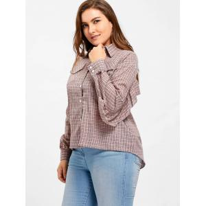 Plus Size Plaid High Low Ruffle Blouse - PINK XL