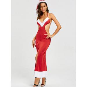 Costume Backless Slit Christmas Dress -