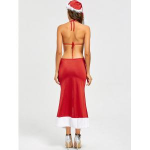 Costume Backless Slit Christmas Dress - Rouge TAILLE MOYENNE