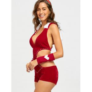 Christmas Velvet Romper Costume - RED ONE SIZE