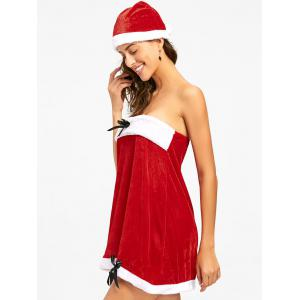 Velvet Christmas Strapless Dress - RED 2XL