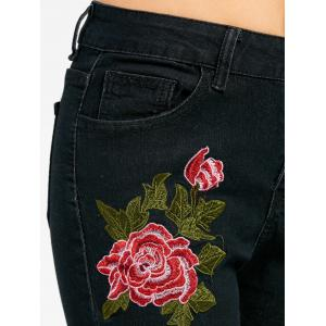 Floral Embroidered Skinny Zipper Fly Jeans - BLACK 2XL