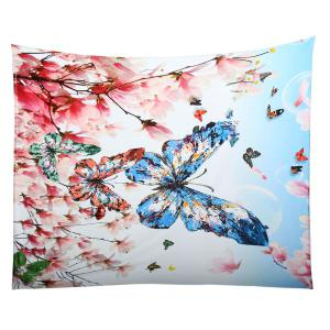 Soft Flowers Butterfly Pattern Coral Fleece Blanket - COLORFUL W59 INCH*L47 INCH