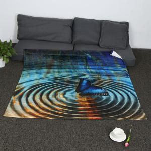 Water Wave Butterfly Pattern Soft Coral Fleece Blanket - COLORFUL W59 INCH*L47 INCH