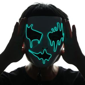 EL Wire LED Glowing Halloween Full Face Mask - Vert