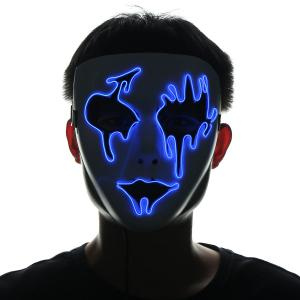 EL Wire LED Luminous Halloween Mask - Bleu