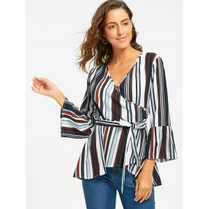 Bell Sleeve Striped Surplice Blouse -