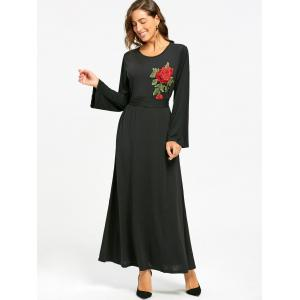 Embroidered Maxi Dress - BLACK S