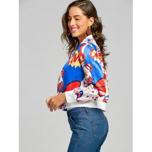 Printed Cropped Graphic Bomber Jacket - MULTI L