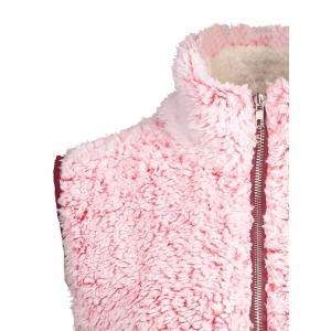 Zip Fly Stand Collar Shearling Vest - ROSE PÂLE 2XL
