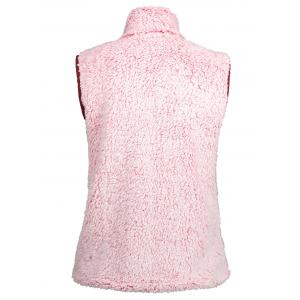 Zip Fly Stand Collar Shearling Vest - PINK 2XL