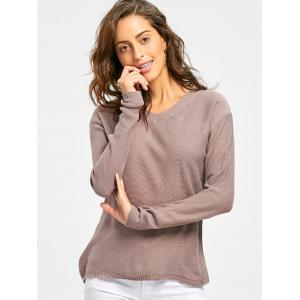 V Neck Pullover Tunic Sweater -