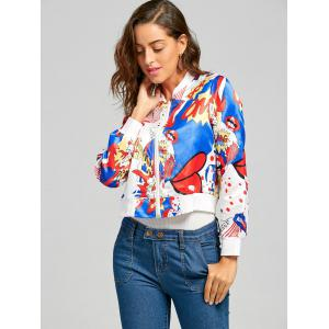 Printed Cropped Graphic Bomber Jacket -