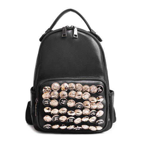 Fancy Side Pouch Faux Leather Studded Backpack BLACK
