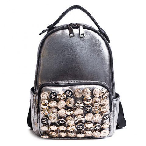 Store Side Pouch Faux Leather Studded Backpack CHAMPAGNE