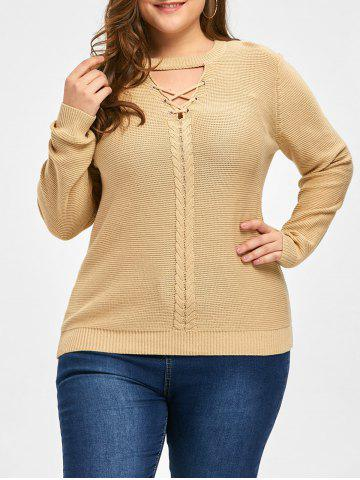Best Plus Size Cable Knit Criss Cross Sweater - XL LIGHT CAMEL Mobile