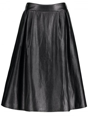 Store Midi Faux Leather Plus Size Skirt - 2XL BLACK Mobile
