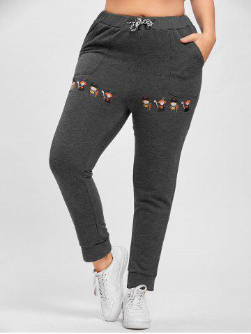 Outfit Plus Size Drawstring Cartoon Embroidered Jogger Pants - 3XL GRAY Mobile