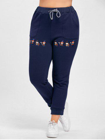 Unique Plus Size Drawstring Cartoon Embroidered Jogger Pants - 4XL PURPLISH BLUE Mobile