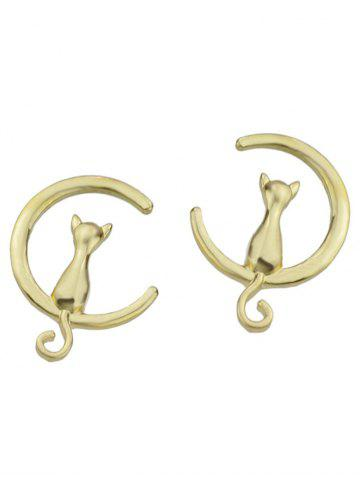Kitten Moon Design Stud Earrings Or