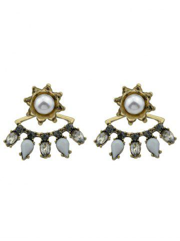 Shop Rhinestones Teardrop Flory Pearl Earrings GOLDEN