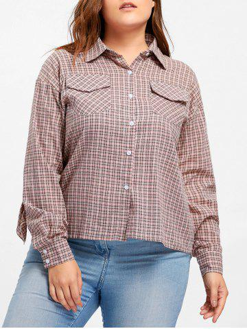 Sale Plus Size Plaid High Low Ruffle Blouse PINK XL