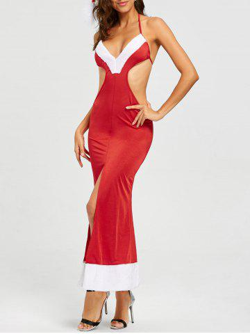 Costume Backless Slit Christmas Dress