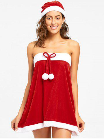 Outfits Strapless Velvet Christmas Dress - L RED Mobile