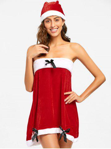 Outfits Velvet Christmas Strapless Dress RED 2XL